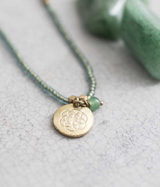 A Beautiful Story  Truly Aventurine Flower of Life Gold Necklace goud (BL25308)