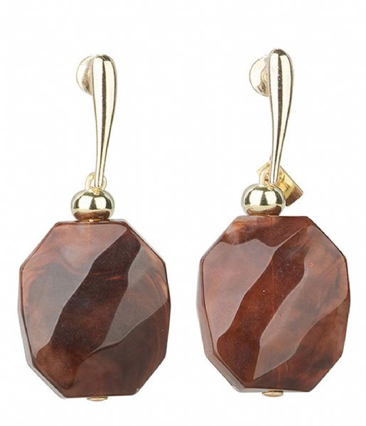 Camps en Camps  Facetted Stone Earrings Cognac Bruin