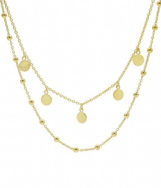 Karma  Karma Double Necklace Dots 5 Discus Zilver Goldplated (T88)