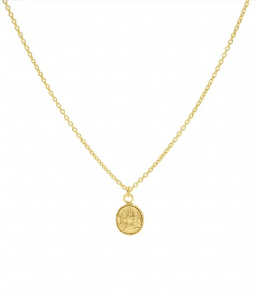 Karma  Karma Necklace Coin Zilver Goldplated (T37)