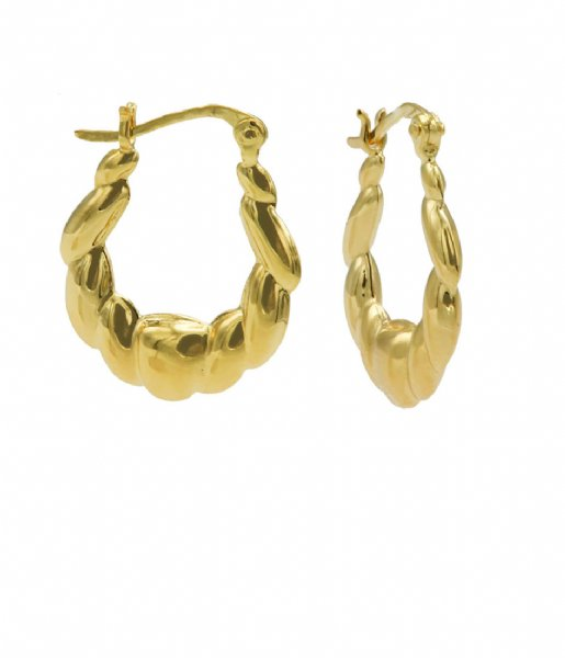 Karma  Plain Hoops Rope Drop Zilver Goldplated (M3091GP)