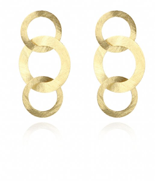 LOTT Gioielli  Classic EarringTriple Round Open Charms Satin Gold plated