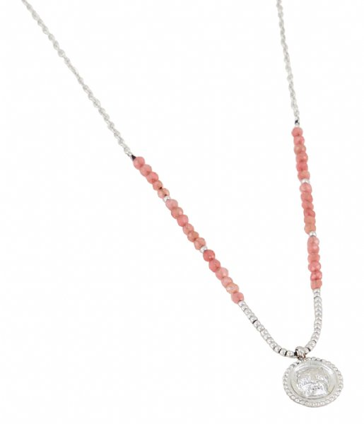 My Jewellery  Ketting bedel & red jade zilverkleurig (1500)