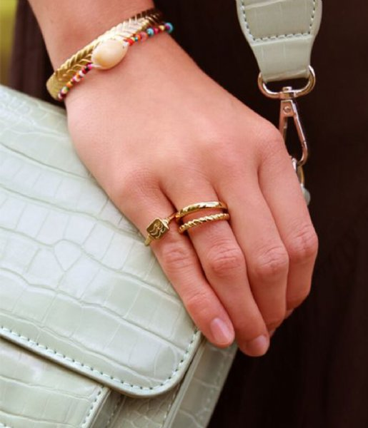 My Jewellery  Zegelring Golfjes gold colored (1200)