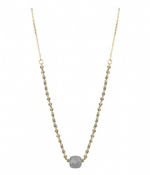 My Jewellery  Enamel Necklace Glass - Grey gold colored (1200)