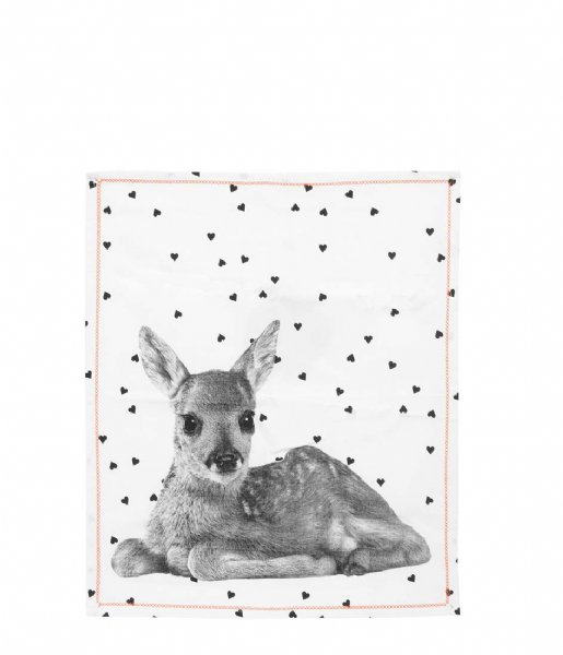 Present Time  Tea towel Hearts Deer w. Cotton hearts deer (PT3136)