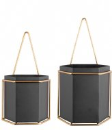 Present Time Wall plant pot set Hexagon iron Black (PT3462BK)