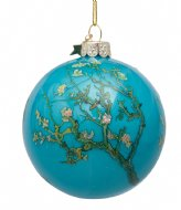 Vondels Bauble Glass Van Gogh Blossom 8 cm Blue Almond