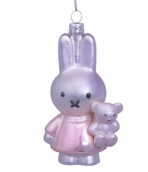 Vondels  Ornament Glass Nijntje Miffy Baby Pink With Bear 11 cm Baby Pink