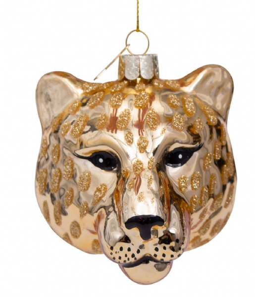 Vondels  Ornament Glass Shiny Panther Head 7.5 cm Gold plated