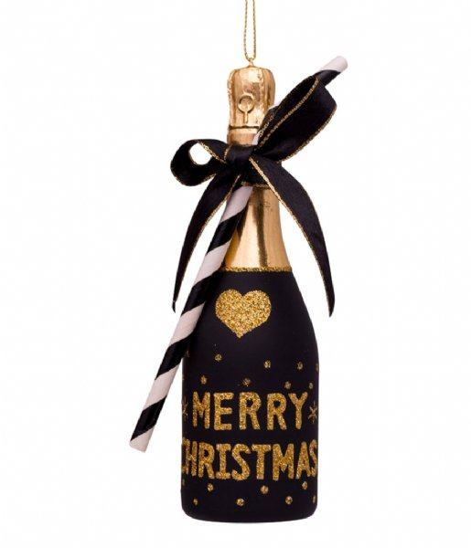 Vondels Decorative object Ornament Glass Champagne Bottle 16 cm Black
